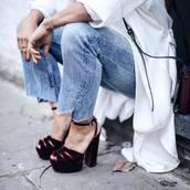 shoes,velvet sandals,sandals,sandal heels,high heel sandals,platform sandals,burgundy,velvet,denim,jeans,blue jeans