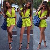 shorts,jumpsuit,bright,yellow,swimwear,shoes,dress,green,romper,neon,lime