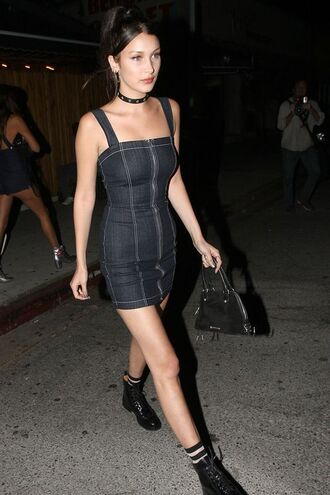 dress bella hadid celebrity celebrity style model denim dress blue dress boots black boots bag black bag choker necklace necklace