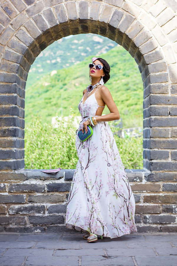 macademian girl blogger bag sunglasses jewels dress maxi dress floral