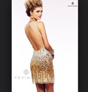 dress,gold,beaded,backless dress,open back prom dress,cocktail dress,prom dress,evening dress,low back dress,style,sparkle,gorgeous,clothes,festive,shiny,sequin dress,short dress,mini dress,sheer,see through dress,gems dress,champagne dress,champagne prom dress,elegant,elegant dress,new year's eve