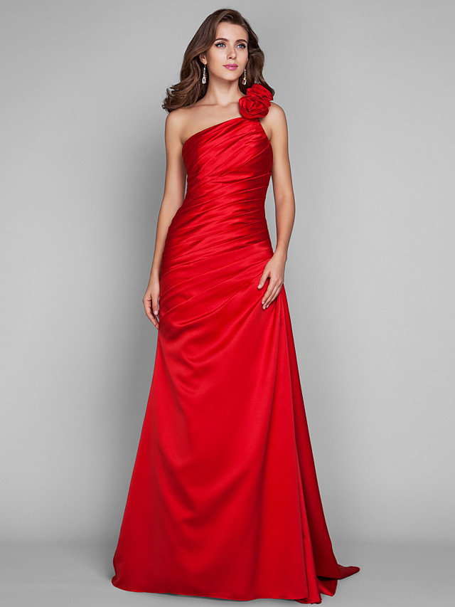 Length satin evening/prom dress (635889)