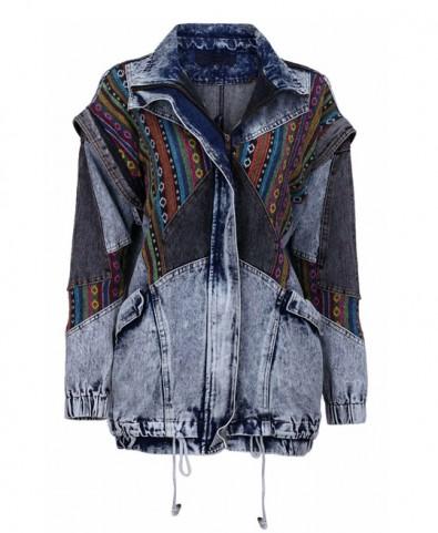 Ethnic embroidery splicing denim jacket