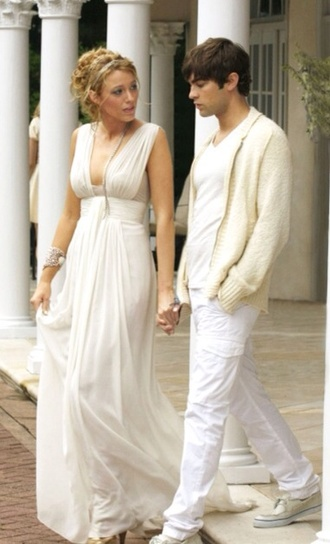 dress blake lively white chiffon gossip girl greek goddess toga ivory long dress pretty cute prom dress long prom dress v neck deep v lose flowy high waisted