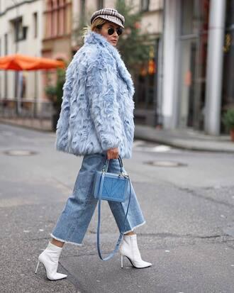 coat tumblr blue coat fur coat faux fur coat denim jeans blue jeans cropped jeans boots white boots ankle boots bag blue bag