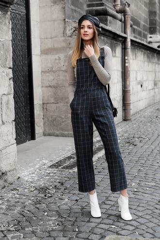 pants grey top beret tumblr checkered pants cropped pants boots ankle boots white boots top overalls dungarees