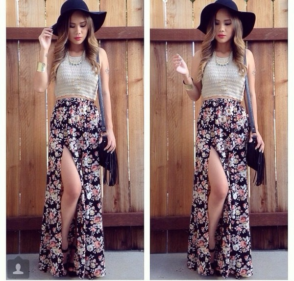 skirt flowers flowered skirt pattern maxi skirt super cute cute black purse hats sunglasses crop tops jewels bag
