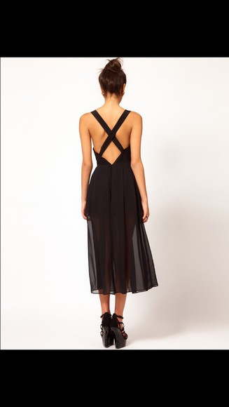 low back midi pleated cross sheer