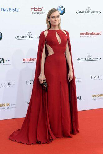 dress red dress gown cape red carpet dress prom dress diane kruger cut-out dress clutch