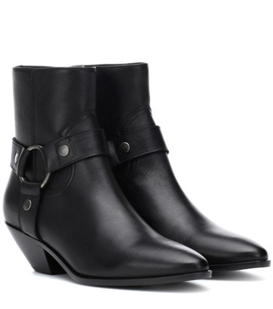 Saint Laurent West Harness leather ankle boots in black