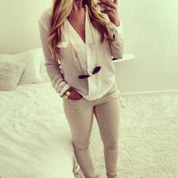 Images of Beige Skinny Jeans For Women - Kianes