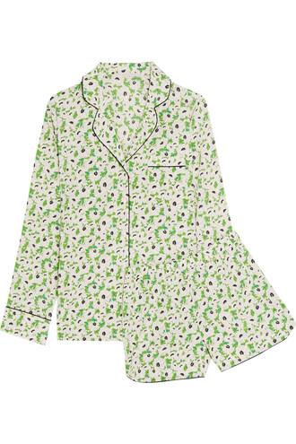 floral print silk green underwear