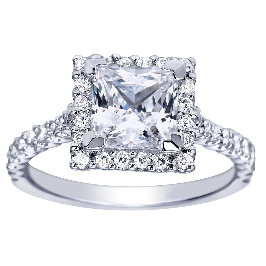 Princess Cut Halo Engagement Ring Setting 77