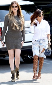 shoes,khloe kardashian,kourtney kardashian,keeping up with the kardashians,dress,sunglasses,shorts,caged sandals,ripped jeans,bodycon dress,grey dress,boots,high heels boots,aviator sunglasses,celebrity style,celebrity,bag,mini bag,chanel,chanel bag