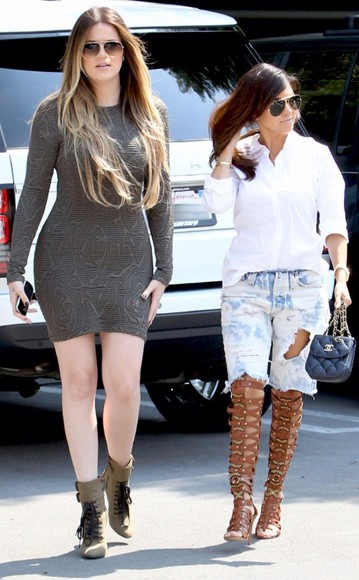 kourtney kardashian keeping up with the kardashians dress khloe kardashian shoes sunglasses chanel