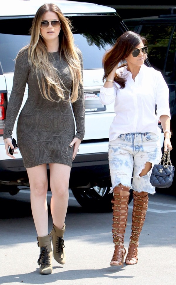 shoes khloe kardashian kourtney kardashian keeping up with the kardashians dress sunglasses shorts caged sandals ripped jeans bodycon dress grey dress boots high heels boots aviator sunglasses celebrity style celebrity bag mini bag chanel chanel bag