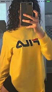 shirt,fila,yellow,long sleeves,trendy,cute