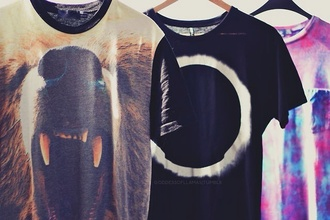 t-shirt print the ring shirt eclipse shirt tie dye tye dye t-shirt danisnotonfire youtube youtuber amazingphil hipster hipster girl tumblr 2k14 bear t-shirt tie dye shirt dan howell animal face print sweater bear dan hoop
