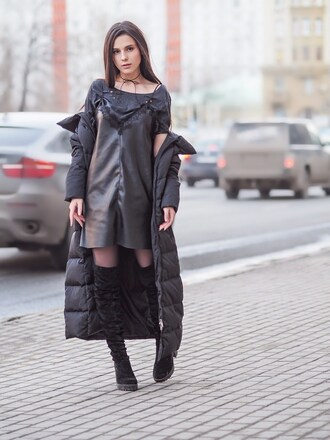 jacket grey t-shirt black slip dress black puffer jacket over knee boots blogger