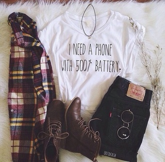 shirt plaid shirt flannel crewneck boots jeans choker necklace sunglasses coat