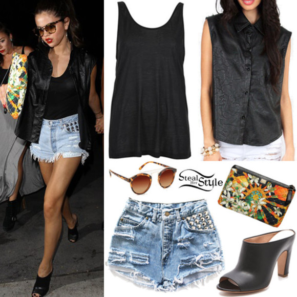 selena gomez shorts shirt shoes studded shorts black tank black heel mules black jacket black leather jacket