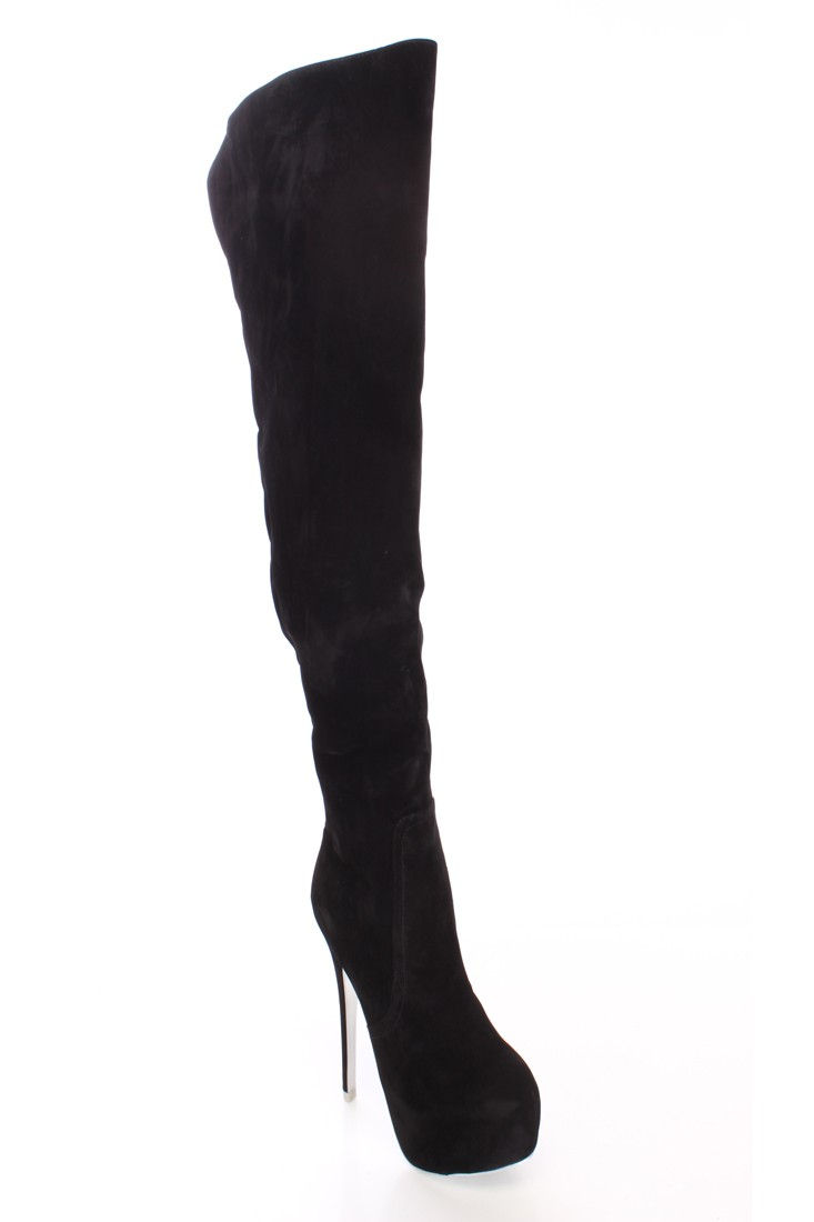 Black Thigh High Platform Heel Boots Faux Suede