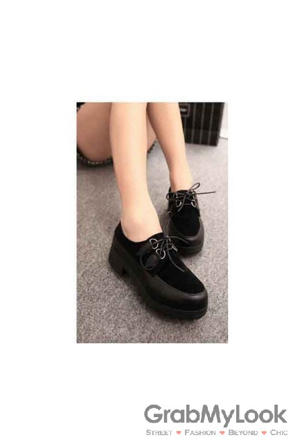 Suede Black Leather Platform Creeper Lace Up Oxford Shoes [SH-CRP-140534] - $39.99 : GrabMyLook, Trendy Street High Fashion Shop for Womens and Mens Clothings - Free Shipping & Returns