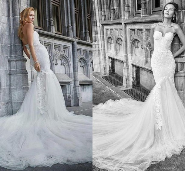 Fishtail Wedding Dress With Train : Wedding dress fishtail backless chapel train