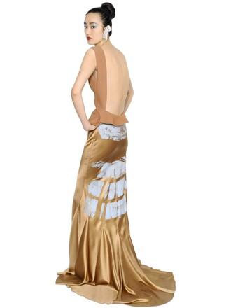 dress maxi dress maxi satin neoprene beige