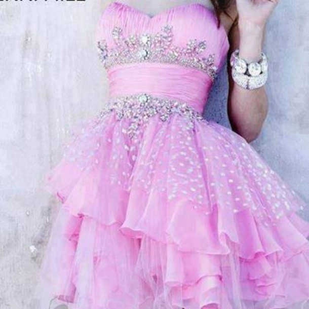 dress pink dress prom dress jewelry silver sequin dress