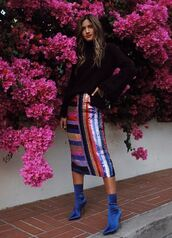 skirt,midi skirt,ankle boots,colorful,stripes,sequins,rocky barnes,blogger,instagram