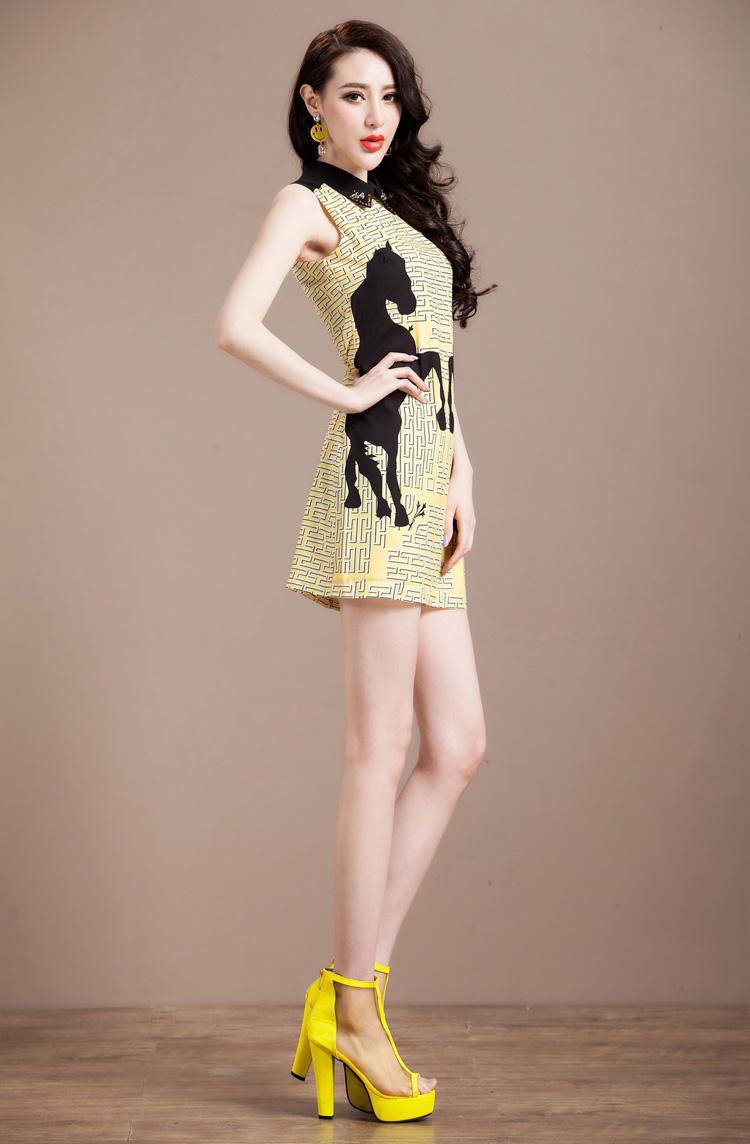 Printed Beaded Laple Dress A347$72