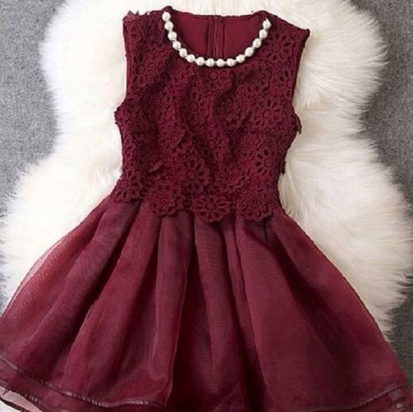 girly grunge girly red velvet dress burgundy pearl elegant dress