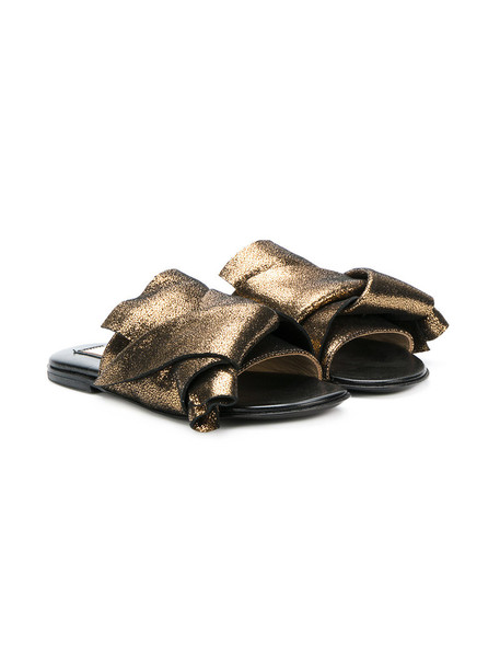 No21 Kids metallic sandals leather suede grey shoes
