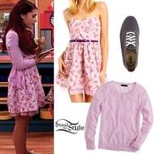 dress,ariana grande,shoes,sweater,pink,grey,cat valentine