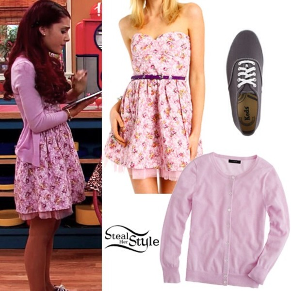 Shoes: dress, ariana grande, sweater, pink, grey, cat ...