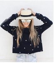sweater,tumblr,instagram,black,sweatshirt,stars,white,crop,cropped,cropped sweater