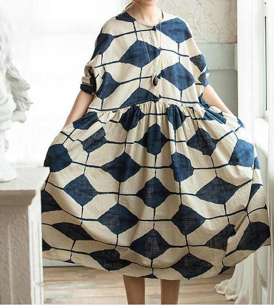 dress linen print dress