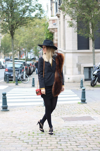 from brussels with love blogger jacket skirt tights shoes bag hat fur scarf booties blazer shoulder bag fall outfits