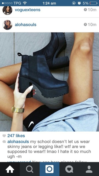 shoes black black shoes boots heel black heel fashion ootd jeans grunge girly boots black