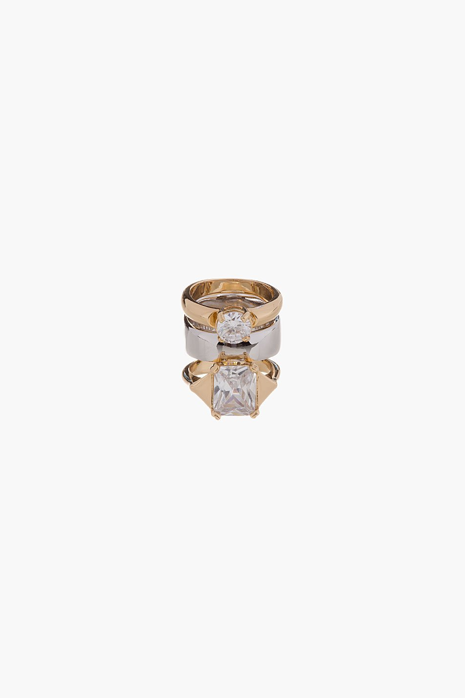 maison martin margiela gold and silver stacked zirconia ring. Black Bedroom Furniture Sets. Home Design Ideas