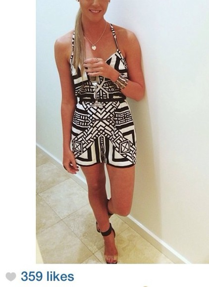 dress multi-colored cute jewels blouse onepiece jumpers romper black white straps spagetti straps aztec australia shirts shorts pretty girly summer shoes
