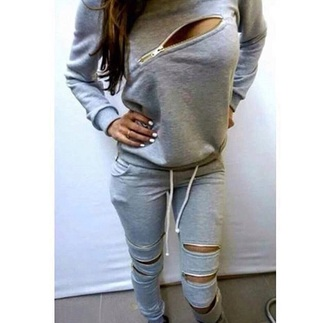 sweater gey cotton gold zip joggers pants