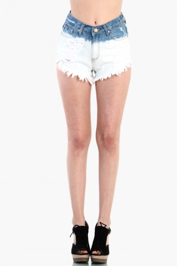 LoveMelrose.com From Harry & Molly | OMBRE DENIM SHORTS - BLUE