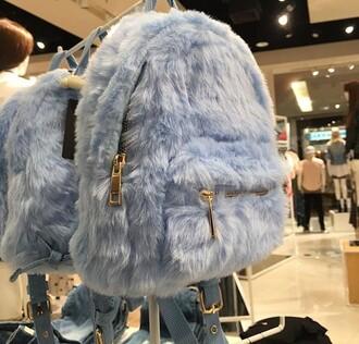 bag furry bag blue blue fur backpack