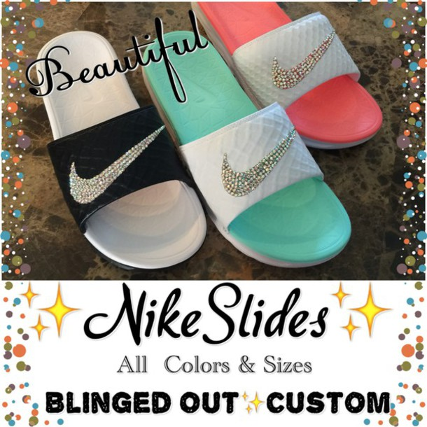 2b6138686c4e shoes nike pink raiders bling nike slide shoes bling nike slides