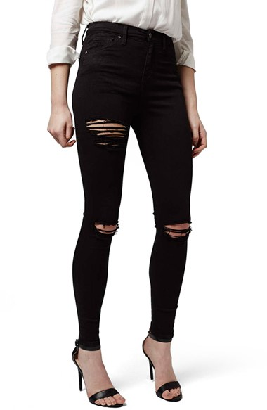 Destroyed High Rise Ankle Skinny Jeans | Nordstrom
