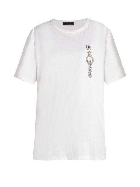 Burberry t-shirt shirt t-shirt embellished cotton white top