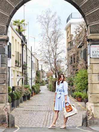 fashion foie gras blogger dress hat bag sandals handbag spring outfits blue dress