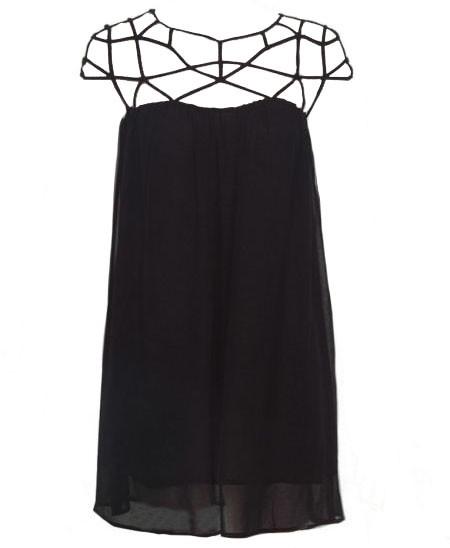 Chiffon Swing Dress with Cutout Details